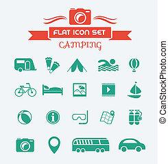 appartamento, set, campeggio, icona
