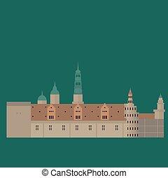 appartamento, set, elements., icone, danimarca, kronberg, style., disegno, architettura, sights., punto di riferimento, copenaghen, città, danese