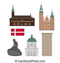 appartamento, set, elements., icone, danimarca, style., disegno, architettura, sights., punto di riferimento, copenaghen, città, danese
