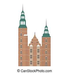 appartamento, set, elements., icone, danimarca, style., rosenborg, architettura, copenaghen, sights., punto di riferimento, disegno, castello, città, danese