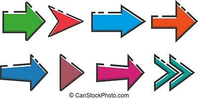 appartamento, set, eps10, frecce, illustrazione, vettore, icona, design.