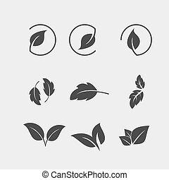 appartamento, set, foglia, albero, nero, icona
