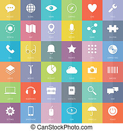 appartamento, set, icone affari, tecnologia moderna