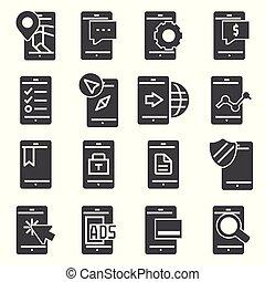 appartamento, set, icone, telefono mobile, minimo