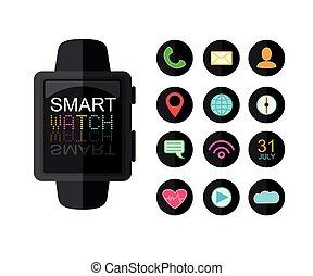appartamento, set, icone, watch., app, moderno, isolato, illustrazione, fondo., vettore, interface., bianco, style., far male