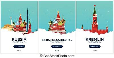 appartamento, set, illustration., viaggiare, moscow., travel., vettore, tempo, russia., posters.