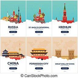 appartamento, set, illustration., viaggiare, travel., vettore, tempo, russia, china., posters.