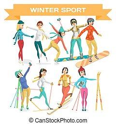appartamento, set, inverno, isolato, illustrazione, cartone animato, sport., vettore, fondo, training., bianco, ragazza, donne