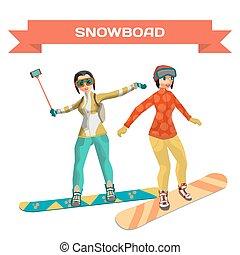 appartamento, set, inverno, snowboard, isolato, illustrazione, cartone animato, sports., vettore, fondo, training., bianco, snowboarding., ragazza, donne
