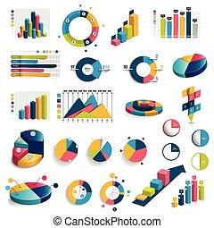 appartamento, set, mega, charts., tabelle, grafici, vector., cerchio, 3d, design.