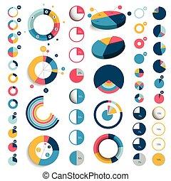 appartamento, set, mega, tabelle, graphs., plastica, 3d, rotondo, cerchio