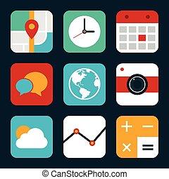 appartamento, set, mobile, illustrazione, domanda, vettore, disegno, icona