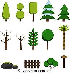 appartamento, set, oggetti, natura, albero, illustrazione, pietre, fondo., gioco, vettore, collezione, bianco, style., cartone animato, elementi