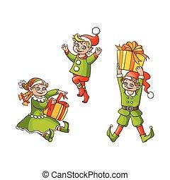 appartamento, set, scene, ragazzo, vettore, ragazza, natale, elfi