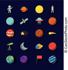 appartamento, set, sistema, solare, icone