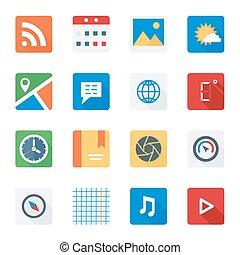 appartamento, set, web, mobile, domanda, fondamentale, icona