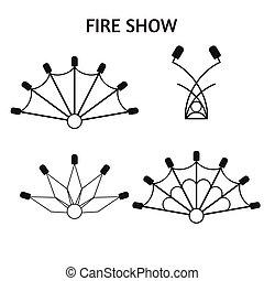 appartamento, show., elementi, strumento, isolated., equipment., ventilatori, circo, accessori, fuoco, progetto serie, poi, fiamma, roba, devices.