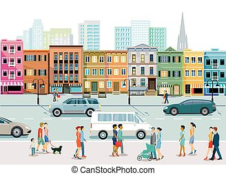 appartamento, sidewalk.eps, pedoni, traffico città, costruzioni