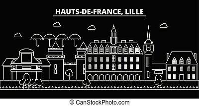 appartamento, silhouette, contorno, città, lille, architettura, illustrazione, -, landmarks., francia francese, edifici., vettore, icona, skyline., linea, bandiera, viaggiare, lineare