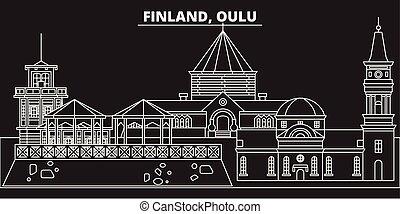 appartamento, silhouette, contorno, finlandese, illustrazione, architettura, finlandia, -, landmarks., oulu, lineare, vettore, icona, skyline., linea, bandiera, viaggiare, città, edifici.