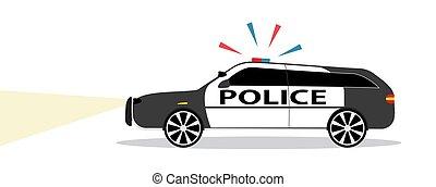 appartamento, sirena, polizia, illustration., automobile, vettore, design., colorato