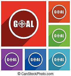 appartamento, smartphone, scopo, colorito, web, mobile, set., bottoni, telefono, domande, vettore, disegno, icona