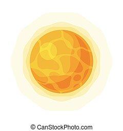 appartamento, solare, illustrazione, stile, elemento, luminoso bianco, fondo, sistema, sole, vettore