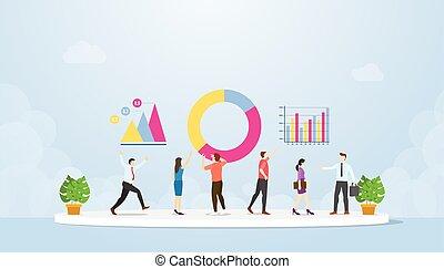 appartamento, squadra, persone, informazioni, valutare, vettore, analisi, analizzare, stile, insieme, dati, -, moderno