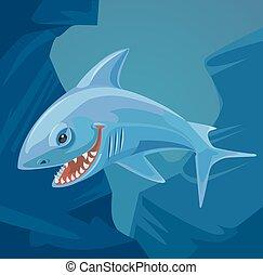 appartamento, squalo, carattere, illustrazione, vettore, affilato, cartone animato, teeth.