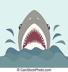 appartamento, squalo, mascelle, stile, illustrazione, vettore, affilato, aperto, cartone animato, teeth.