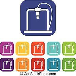 appartamento, stampante, icone, cornice, set, 3d