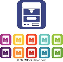 appartamento, stampante, set, 3d, icone