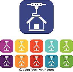 appartamento, stampante, set, icone, casa, stampa, 3d