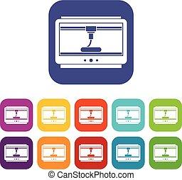 appartamento, stampante, set, icone, tazza, stampa, 3d