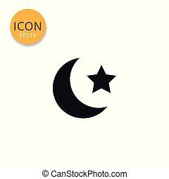 appartamento, stella, isolato, luna, style., icona