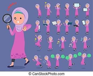 appartamento, stile, arabo, hijab, ragazza, tipo
