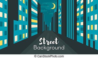 appartamento, stile, città, illustrazione, strada., notte