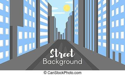 appartamento, stile, città, illustrazione, vettore, strada.