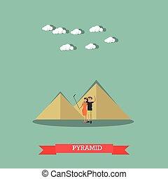 appartamento, stile, concetto, egitto, illustrazione, vettore, disegno, piramidi, viaggio