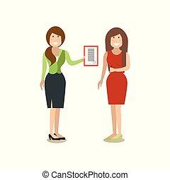 appartamento, stile, concetto, persone affari, illustrazione, vettore