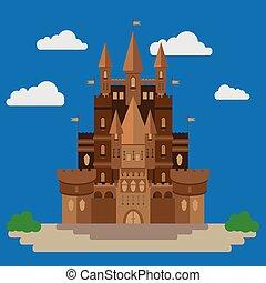 appartamento, stile, disegno, castello