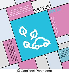 appartamento, stile, eco, automobile, segno., moderno, vettore, icona, tuo, design.