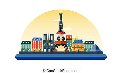 appartamento, stile, francia, icona