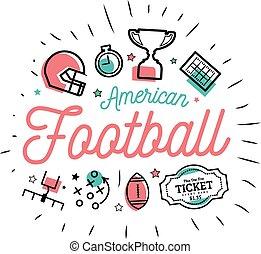appartamento, stile, icone, linee, illustrazione, americano, vettore, football., magro