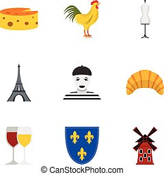 appartamento, stile, icone, set, viaggiare, francia
