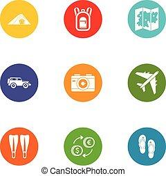 appartamento, stile, icone, set, viaggiare, mondo