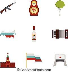 appartamento, stile, icone, set, viaggiare, russia