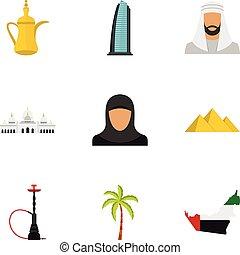 appartamento, stile, icone, set, viaggiare, uae