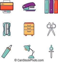 appartamento, stile, icone ufficio, set, roba