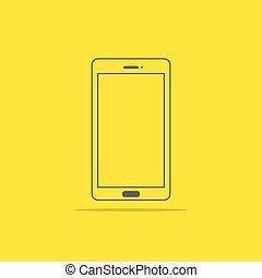 appartamento, stile, illustrazione, telefono, vettore, icona